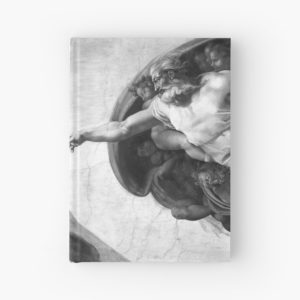 Black and White Creation of Adam Painting by Michelangelo Sistine Chapel Hardcover Journals