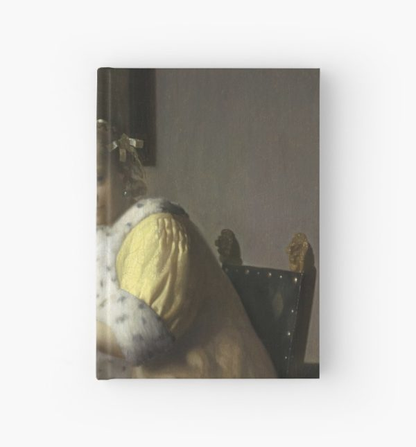 A Lady Writing Oil Painting by Johannes Vermeer Hardcover Journals