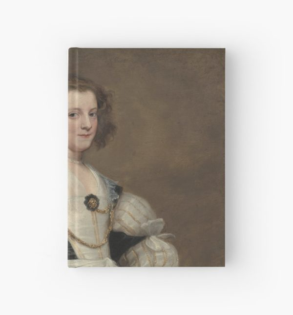 Lady with a Fan Oil Painting by Sir Anthony van Dyck Hardcover Journals