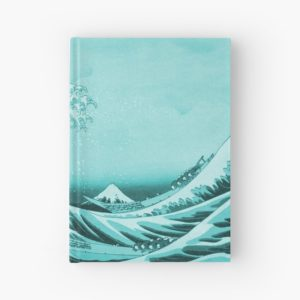 Aqua Blue Japanese Great Wave off Kanagawa by Hokusai Hardcover Journals