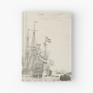 Dutch Ships near the Coast Oil Painting by Willem van de Velde the Elder Hardcover Journals