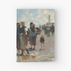 Setting Out to Fish Oil Painting by John Singer Sargent Hardcover Journals