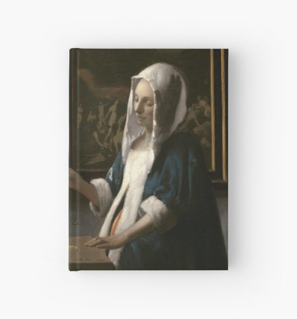 Woman Holding a Balance Oil Painting by Johannes Vermeer Hardcover Journals