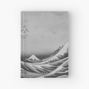 Black and White Japanese Great Wave off Kanagawa by Hokusai Hardcover Journals