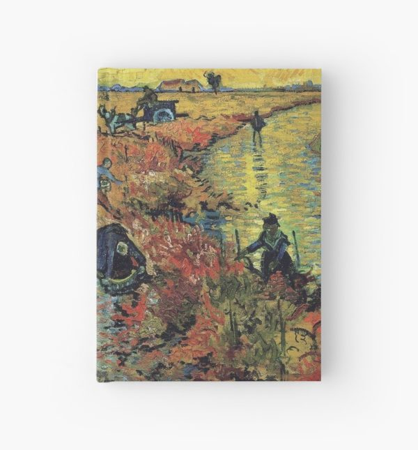 The Red Vineyards Oil Painting on Burlap by Vincent van Gogh Hardcover Journals