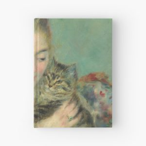 Woman with a Cat Oil Painting by Auguste Renoir Hardcover Journals