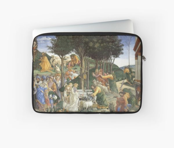 Trials of Moses Painting by Botticelli - Sistine Chapel Laptop Sleeves