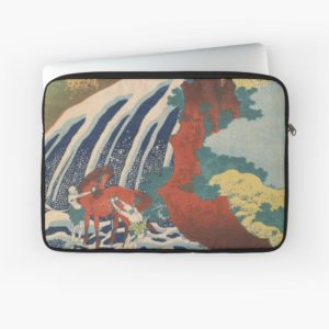 Yoshino Waterfalls Where Yoshitsune Washed his Horse by Katsushika Hokusai Laptop Sleeves