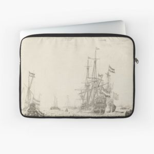 Dutch Ships near the Coast Oil Painting by Willem van de Velde the Elder Laptop Sleeves