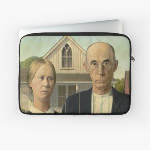 American Gothic Oil Painting by Grant Wood Laptop Sleeves
