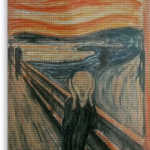 The Scream Lovingly Knitted by Granny E-Munch Metal Prints