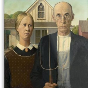 American Gothic Oil Painting by Grant Wood Metal Prints