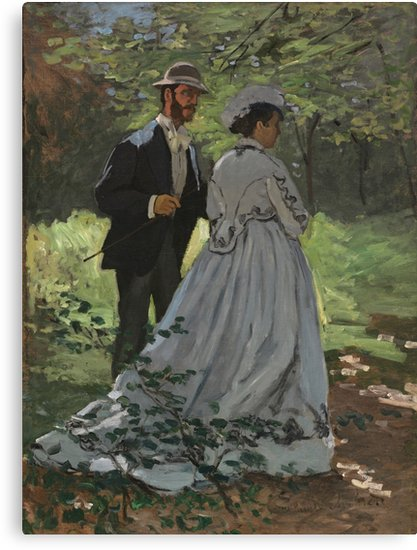 Bazille and Camille Painting by Claude Monet Canvas Prints