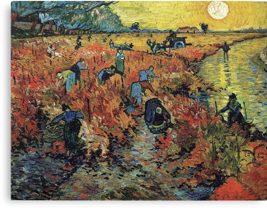 The Red Vineyards Oil Painting on Burlap by Vincent van Gogh Canvas Prints