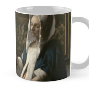 Woman Holding a Balance Oil Painting by Johannes Vermeer Mugs