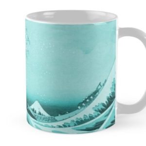 Aqua Blue Japanese Great Wave off Kanagawa by Hokusai Mugs
