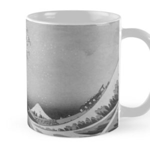 Black and White Japanese Great Wave off Kanagawa by Hokusai Mugs
