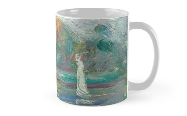 The Blue River Oil Painting by Auguste Renoir Mugs
