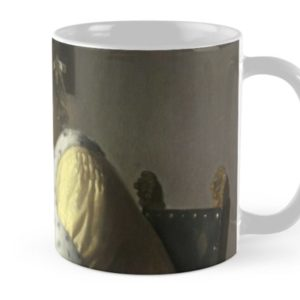 A Lady Writing Oil Painting by Johannes Vermeer Mugs