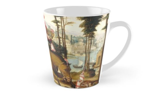 Saint George and the Dragon Oil Painting by Sodoma Tall Mugs