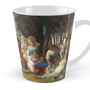 The Feast of the Gods Painting by Giovanni Bellini and Titian Tall Mugs