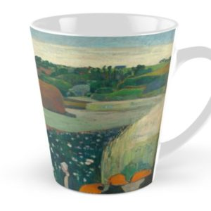 Haystacks in Brittany Oil Painting by Paul Gauguin Tall Mugs