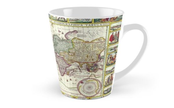 Vintage 1652 World Map by Claes Janszoon Visscher Tall Mugs