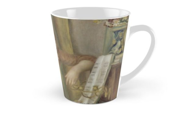 Young Girls at the Piano Oil Painting by Pierre Auguste Renoir Tall Mugs
