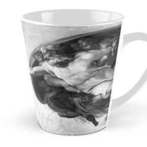 Black and White Creation of Adam Painting by Michelangelo Sistine Chapel Tall Mugs