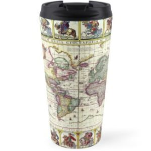 Vintage 1652 World Map by Claes Janszoon Visscher Travel Mugs