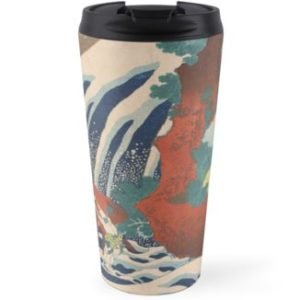 Yoshino Waterfalls Where Yoshitsune Washed his Horse by Katsushika Hokusai Travel Mugs