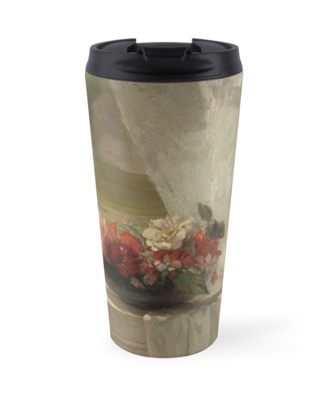 Flowers on a Window Ledge Oil Painting by John La Farge Travel Mugs