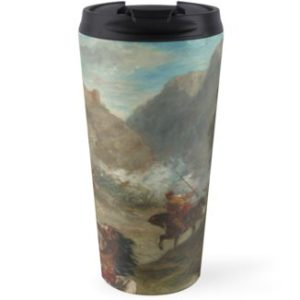 Arabs Skirmishing in the Mountains Oil Painting by Eugène Delacroix Travel Mugs