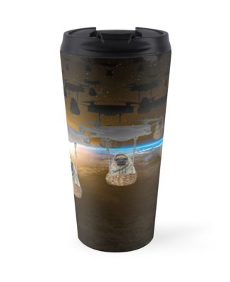 Pugvasion Alien Invasion by Drone Travel Mugs
