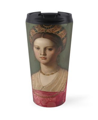 A Young Woman and Her Little Boy Oil Painting by Agnolo Bronzino Travel Mugs
