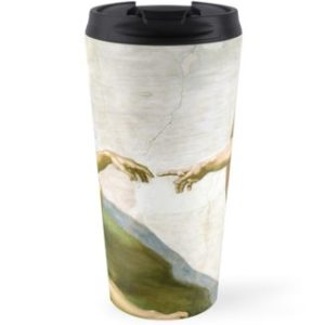 The Creation of Adam Painting by Michelangelo Sistine Chapel Travel Mugs