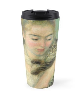 Woman with a Cat Oil Painting by Auguste Renoir Travel Mugs