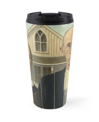 American Gothic Oil Painting by Grant Wood Travel Mugs
