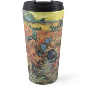 The Red Vineyards Oil Painting on Burlap by Vincent van Gogh Travel Mugs