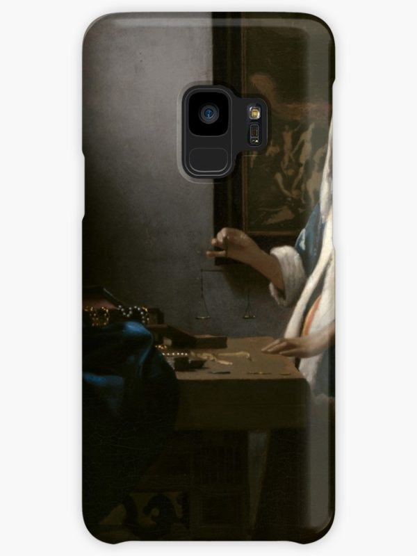 Woman Holding a Balance Oil Painting by Johannes Vermeer Cases & Skins for Samsung Galaxy