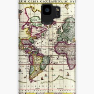 Vintage 1652 World Map by Claes Janszoon Visscher Cases & Skins for Samsung Galaxy