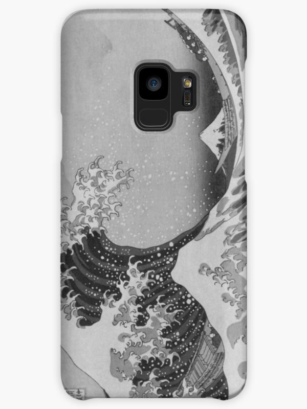 Black and White Japanese Great Wave off Kanagawa by Hokusai Cases & Skins for Samsung Galaxy