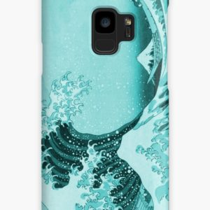 Aqua Blue Japanese Great Wave off Kanagawa by Hokusai Cases & Skins for Samsung Galaxy