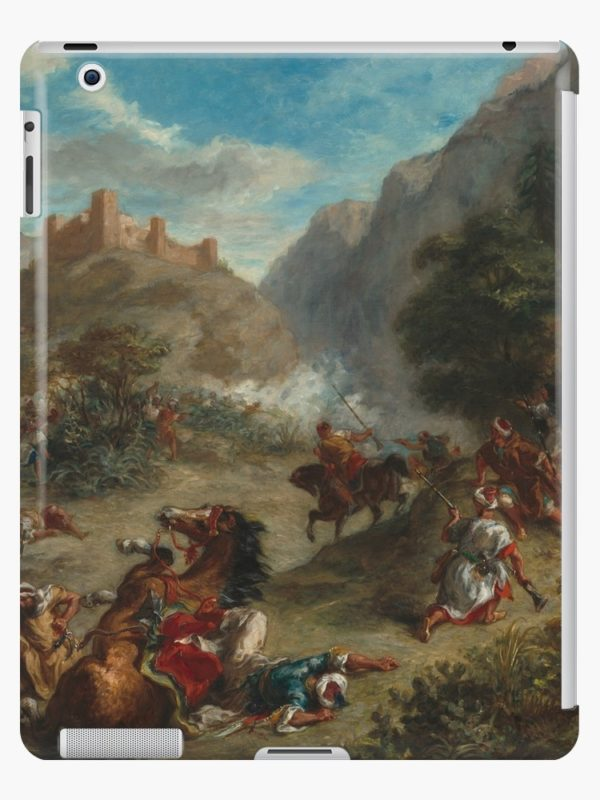 Arabs Skirmishing in the Mountains Oil Painting by Eugène Delacroix iPad Cases & Skins