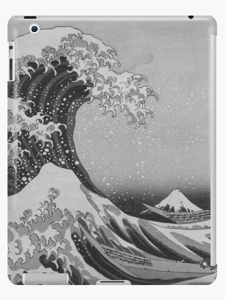 the best attitude 4ce5d 43b5a Black and White Japanese Great Wave off Kanagawa by Hokusai iPad Cases &  Skins