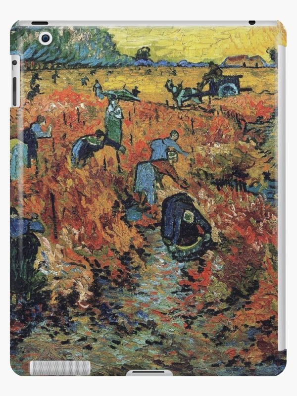 The Red Vineyards Oil Painting on Burlap by Vincent van Gogh iPad Cases & Skins