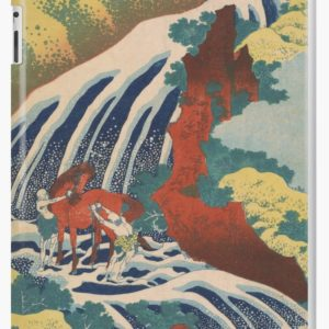 Yoshino Waterfalls Where Yoshitsune Washed his Horse by Katsushika Hokusai iPad Cases & Skins