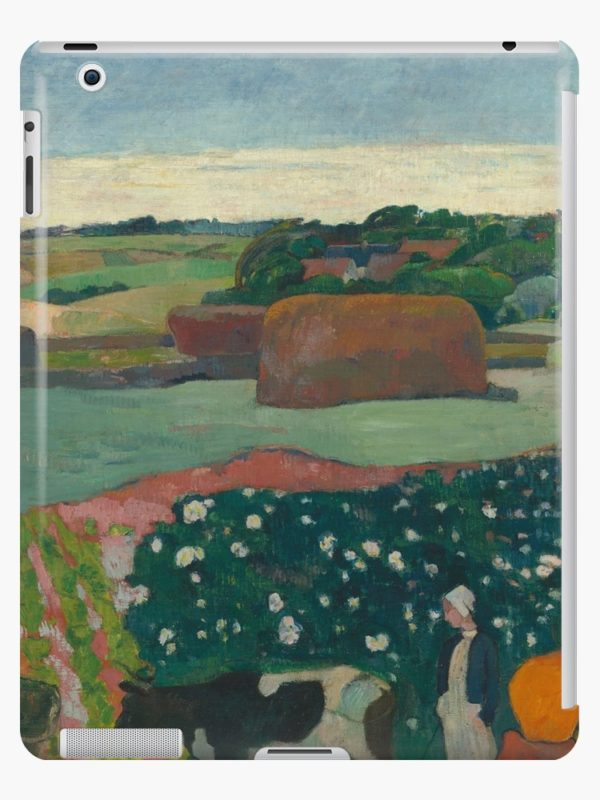 Haystacks in Brittany Oil Painting by Paul Gauguin iPad Cases & Skins