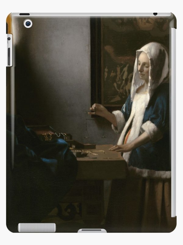 Woman Holding a Balance Oil Painting by Johannes Vermeer iPad Cases & Skins
