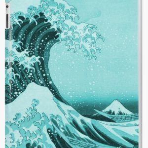 Aqua Blue Japanese Great Wave off Kanagawa by Hokusai iPad Cases & Skins